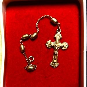Vintage Gold Tone Rosary Beaded Crucifix